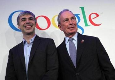 NEW YORK, NY - MAY 21: New York City Mayor Michael Bloomberg (R) and Google co-founder and CEO Larry Page pose for a photograph after a news conference at the Google offices on May 21, 2012 in New York City. Google announced today that it will allocate 22,000 square feet of space in its New York headquarters to CornellNYC Tech while the university completes its new campus on Roosevelt Island. (Photo by Justin Sullivan/Getty Images)