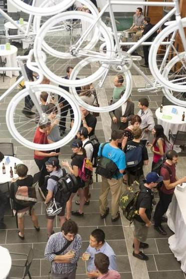 "When the Boston Society of Architects kicked off its snazzy new urban cycling exhibition titled ""Let's Talk About Bikes"" in June, more than 750 people came for a look, clogging congress street with the bikes they pedaled there."