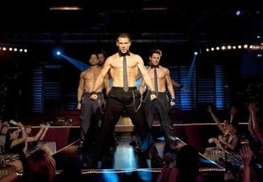 "From left: Adam Rodriguez, Kevin Nash, Channing Tatum, and Matt Bomer in a scene from ""Magic Mike."""