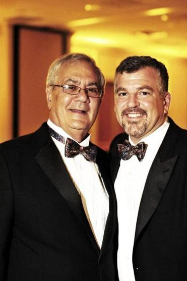 Barney Frank (left) and his partner James Ready posed during their wedding reception.