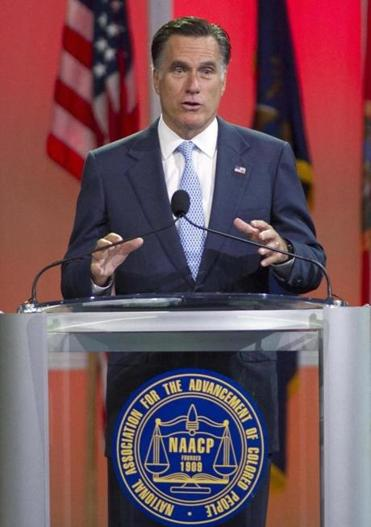 Romney spoke at the NAACP convention in Houston Wednesday.