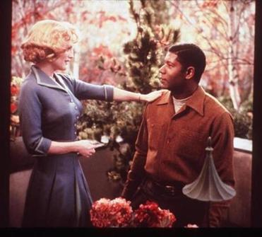 "Cathy Whitaker, played by Julianne Moore, talks to her gardener, Raymond Deagan, played by Dennis Haysbert in the 2002 film ""Far From Heaven."""