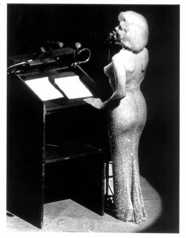 "Monroe singing ""Happy Birthday"" to President John F. Kennedy at Madison Square Garden on May 20, 1962."
