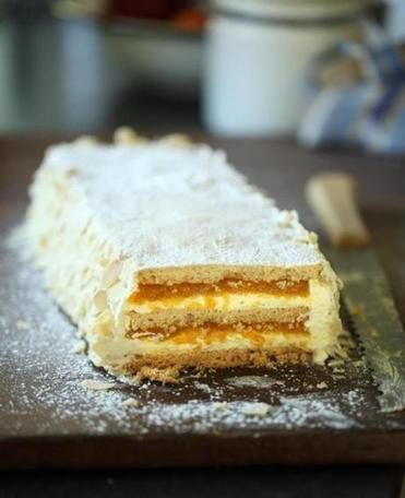 "Los Gatos gâteau, an apricot-filled torte Heller made from the ""Birthday Dinner"" menu in ""Julia Child & Company."""