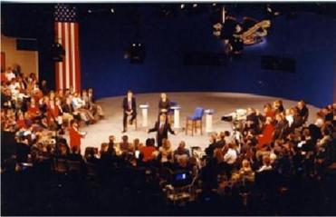 Carole Simpson moderating a presidential debate for ABC News in 1992.