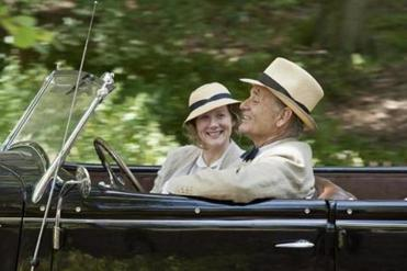 "Bill Murray (with Laura Linney) stars as FDR in ""Hyde Park on Hudson."""