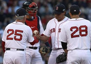 Vicente Padilla and the Red Sox surrendered 14 runs over two innings to the Yankees on April 21.