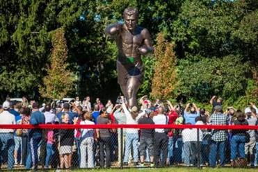 The statue of Rocky Marciano that was unveiled Sunday is a gift to Brockton from the World Boxing Council.