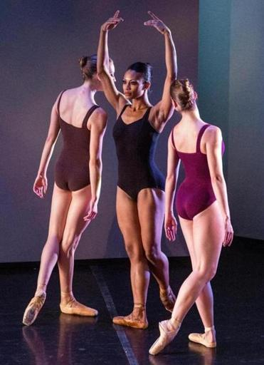 "From left: Amanda Kostreva, Sybil Geddes, and Emma Ward in José Mateo Dance Theatre's ""Taking Turns,"" a Mateo work premiering this season at the Sanctuary Theatre."