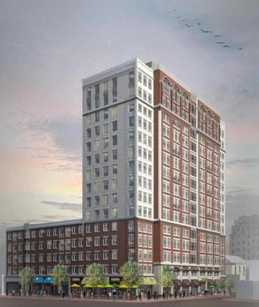 Artist renderings of buildings planned for the downtown plan, including the Kilroy (left) and the renovated Granite Trust Lofts (right) (above).