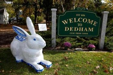 """A Tail of Dedham Pottery,"" by Elaine Matt Schaffner, is just off Route 95 in front of the Welcome to Dedham sign."