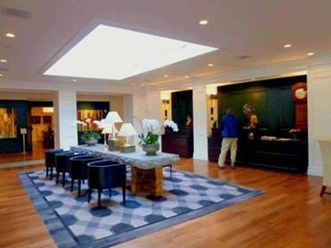 The lobby of the Hanover Inn shows the inn's transformation from Colonial Revival to contemporary style.