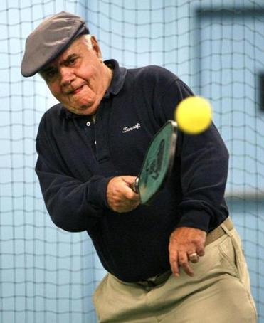 Bob Burke plays pickleball at the Longfellow Club's Zip Zone in Wayland.