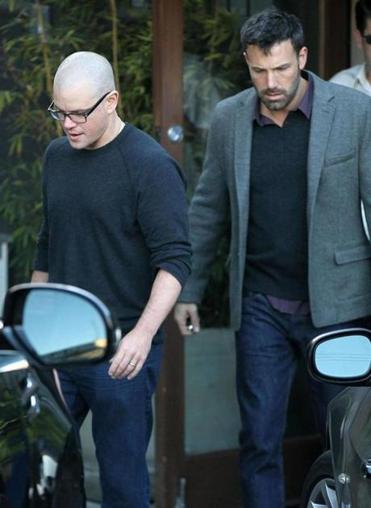 Matt Damon (left) and Ben Affleck leave a meeting in Santa Monica.