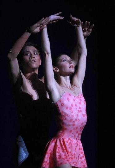 "Jeffrey Cirio and Kathleen Breen Combes during a Boston Ballet's dress rehearsal of ""Awake Only"" at the Boston Opera House."