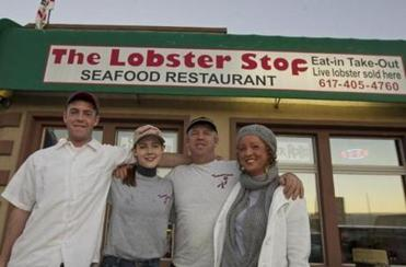 The Dawson family — (from left) Peter Jr., Jennifer, Peter Sr., and Colette — run the Lobster Spot in Quincy.