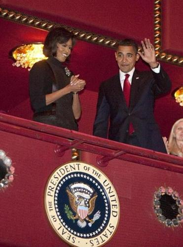 The Obamas attend a Kennedy Center performance in Washington.