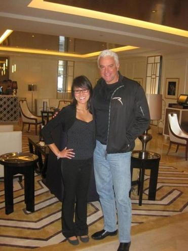 Bond hostess Stephanie Chang with John O'Hurley.
