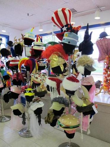 Fun and funky hats at The Mad Hatter in downtown Falmouth.