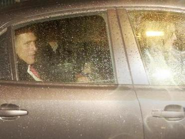 Mitt Romney departed his North End headquarters Wednesday after spending time with staff members, volunteers, and supporters.