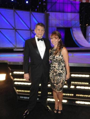 Mike Brophey and Ginny Rogers of radio station WKLB after winning their CMA Award in Nashville.