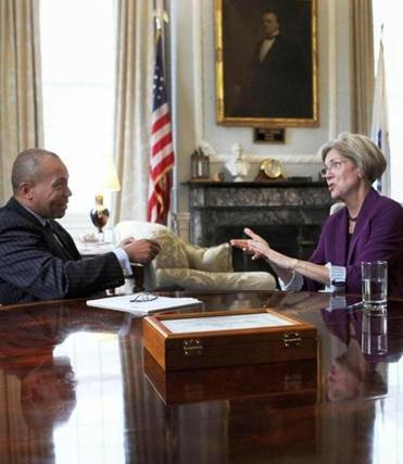 Governor Deval Patrick met with US Senator-elect Elizabeth Warren for more than an hour before her press conference on Thursday. He said Warren defeated Senator Scott Brown because of her conviction.