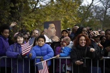 Well-wishers waited outside the Obamas' Chicago home on the South Side.