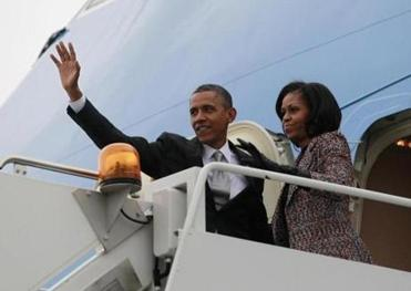 The Obamas headed back to Washington yesterday on Air Force One.
