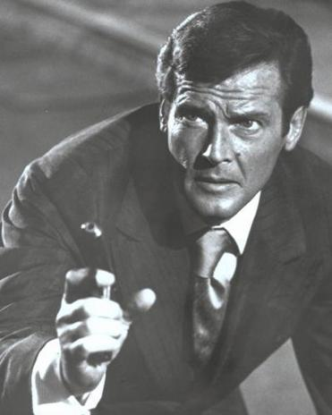 Roger Moore as James Bond.