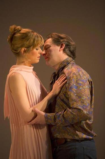 "Gretchen Egolf and Alan Cox in Huntington Theatre Company's ""Betrayal"""