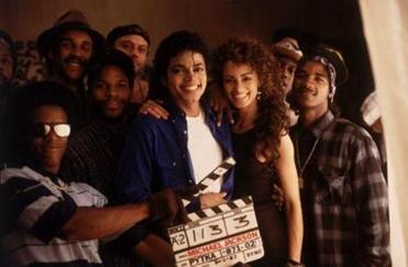 "Michael Jackson posed with cast members of The Way You Make Me Feel as seen in ""Bad 25""."