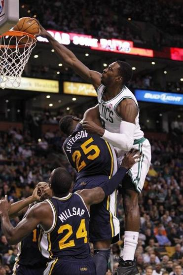 Jeff Green's explosive dunk over Utah's Al Jefferson provided the Celtics a huge lift in the fourth quarter.