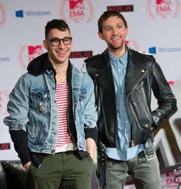 Jack Antonoff (left) and Andrew Dost of multiple nominee Fun.