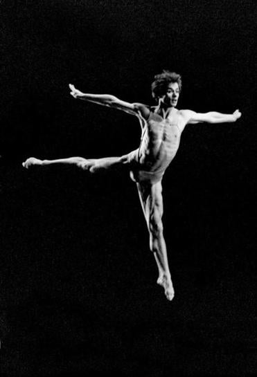 "Rudolf Nureyev photographed by Francette Levieux in ""Moments"" (Murray Louis Dance Company, 1977)."