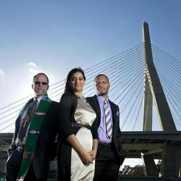 Photographed in Boston's Paul Revere Park, the Rev. Eric Markman of Hartford Street Presbyterian Church (left), Priti Rao of the Massachusetts Women's Political Caucus, and Ed Walker of Independent Consultants of Education are among a devoted group of diversty champions.