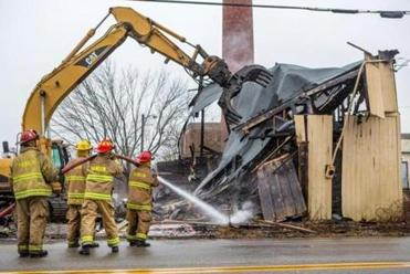 A fire destroyed a buildiing at 1000 Main St. in Hanson.