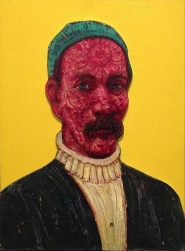 "Gregory Gillespie's ""Self Portrait With Yellow Background."""