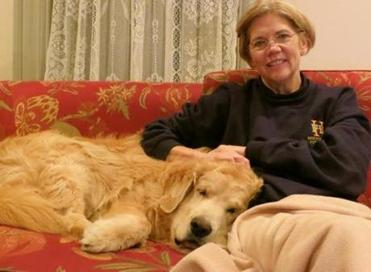 Elizabeth Warren posted this photo of herself and her dog Otis  on Oct. 28 on Facebook.