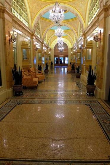 "Intricate mosaic tiles line the floors of ""Peacock Alley"" at the Fairmont Copley Plaza."