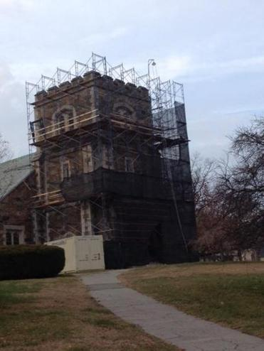 Work has started on the Centre Street church's bell tower.