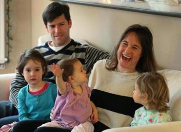 Marie Laure Frere with husband Sean and their 3 daughters, (from left) Lucy, 3, Simone, 16 months, and Bixby, 2.