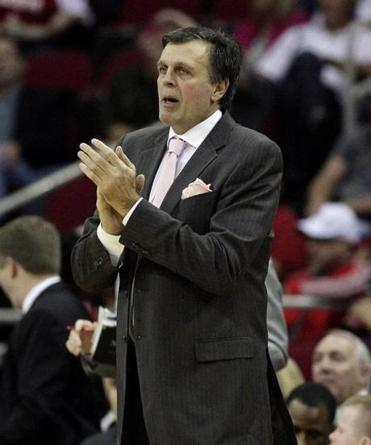 Houston Rockets head coach Kevin McHale encourages his team during the second half Saturday night.