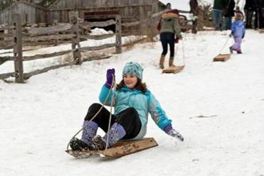 Old-fashioned 19th century wooden sleds.