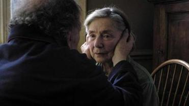 "Emmanuelle Riva as Anne and Jean-Louis Trintignant as Georges in ""Amour."""