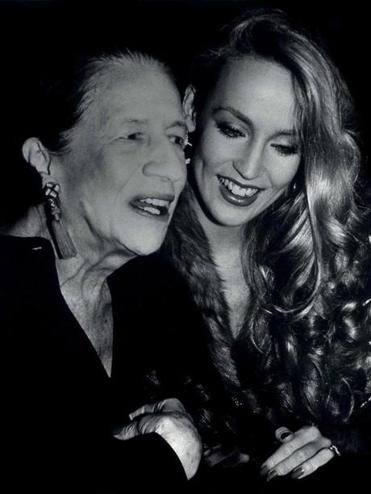 Diana Vreeland (left) and model Jerry Hall at Studio 54 in New York in 1978.