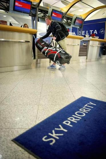 Passenger Brian Mannering checked in at a special counter at Hartsfield-Jackson Atlanta International Airport in April.