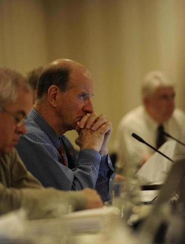 Rip Cunningham of the New England Fishery Manage-­ment Council listened during a meeting with fisherman on Wednesday.