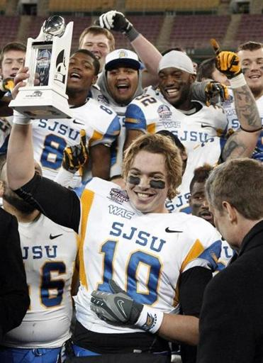 San Jose State quarterback David Fales earned the MVP trophy after leading the Spartans in the Military Bowl.