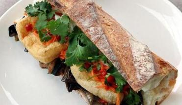 At Strip-T's in Watertown, the eggplant banh mi sandwich.
