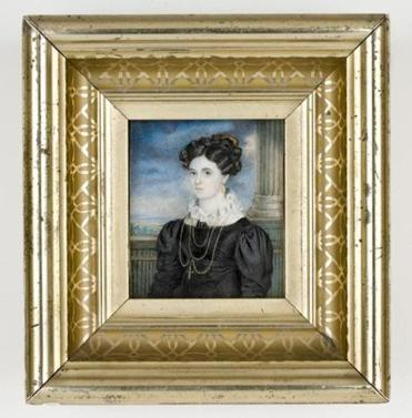 Miniatures of Eleanor Fleming, circa 1824, around the time of her wedding. The miniatures are watercolor on ivory.
